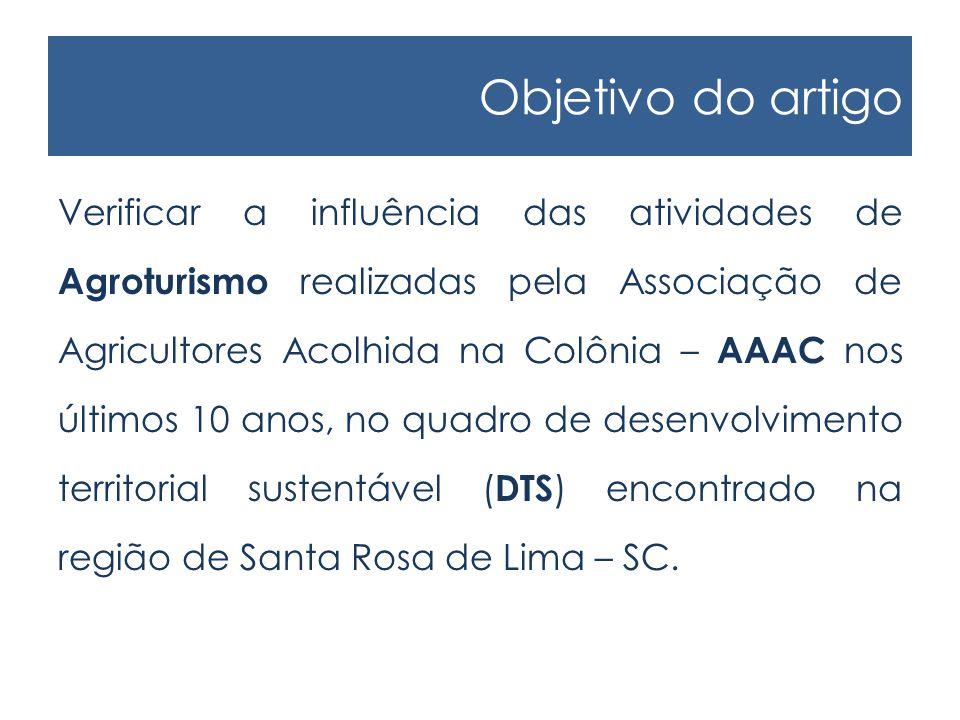 Objetivo do artigo Verificar a influência das atividades de Agroturismo realizadas pela Associação de Agricultores Acolhida na Colônia – AAAC nos últimos 10 anos, no quadro de desenvolvimento territorial sustentável ( DTS ) encontrado na região de Santa Rosa de Lima – SC.
