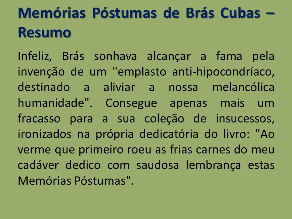 Memórias Póstumas de Brás Cubas – Resumo Infeliz, Brás sonhava alcançar a fama pela invenção de um
