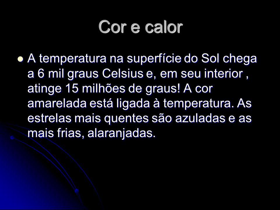 Cor e calor A temperatura na superfície do Sol chega a 6 mil graus Celsius e, em seu interior, atinge 15 milhões de graus.