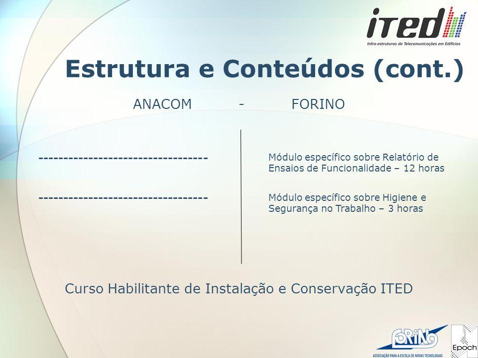 Estrutura e Conteúdos (cont.) ANACOM - FORINO Curso Habilitante de Instalação e Conservação ITED ---------------------------------- Módulo específico sobre Relatório de Ensaios de Funcionalidade – 12 horas ---------------------------------- Módulo específico sobre Higiene e Segurança no Trabalho – 3 horas