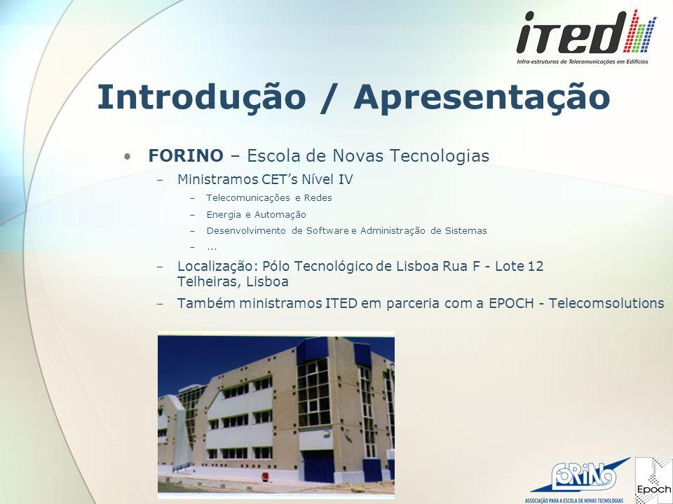 Introdução / Apresentação FORINO – Escola de Novas Tecnologias ‒ Ministramos CET's Nível IV ‒ Telecomunicações e Redes ‒ Energia e Automação ‒ Desenvolvimento de Software e Administração de Sistemas ‒...