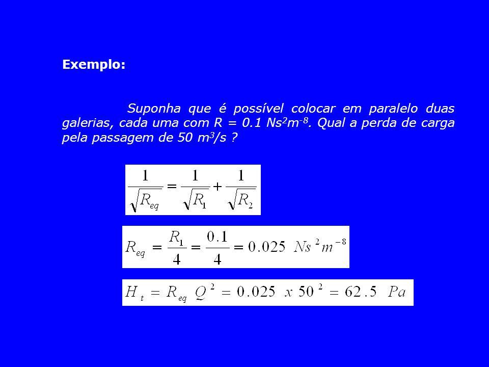 Exemplo: Suponha que é possível colocar em paralelo duas galerias, cada uma com R = 0.1 Ns 2 m -8. Qual a perda de carga pela passagem de 50 m 3 /s ?