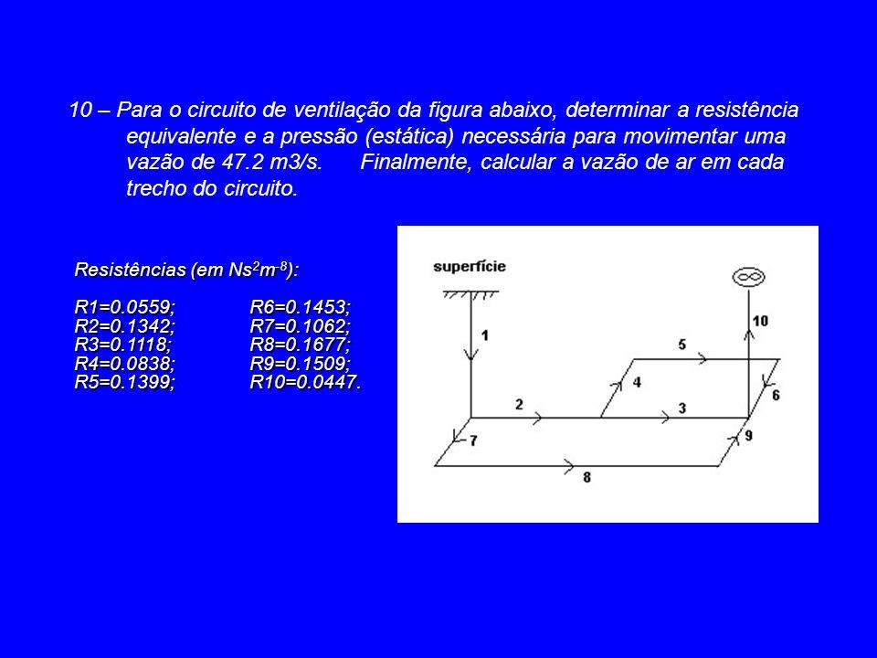 10 – Para o circuito de ventilação da figura abaixo, determinar a resistência equivalente e a pressão (estática) necessária para movimentar uma vazão