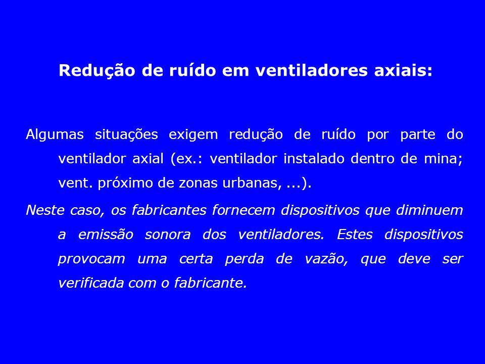 Redução de ruído em ventiladores axiais: Algumas situações exigem redução de ruído por parte do ventilador axial (ex.: ventilador instalado dentro de