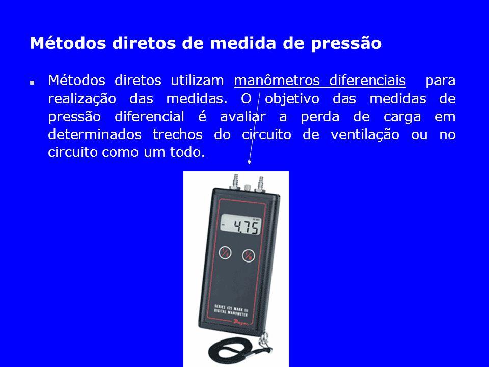 Métodos diretos de medida de pressão n Métodos diretos utilizam manômetros diferenciais para realização das medidas. O objetivo das medidas de pressão
