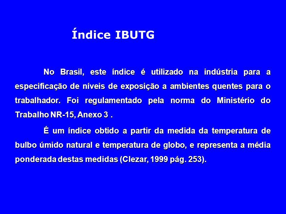 Índice IBUTG No Brasil, este índice é utilizado na indústria para a especificação de níveis de exposição a ambientes quentes para o trabalhador. Foi r