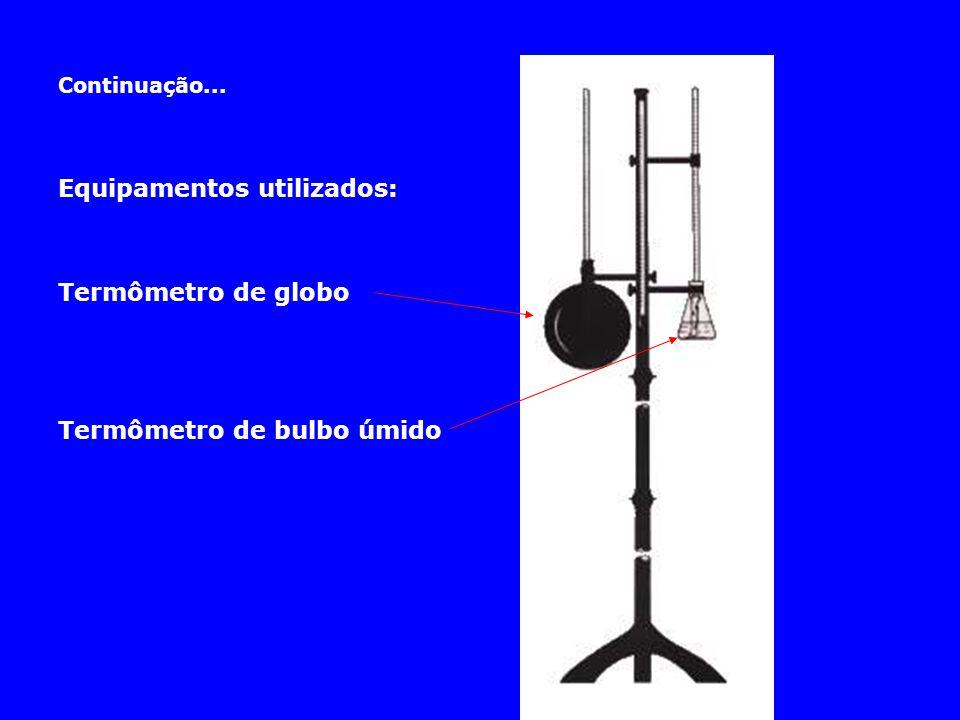 Equipamentos utilizados: Termômetro de globo Termômetro de bulbo úmido