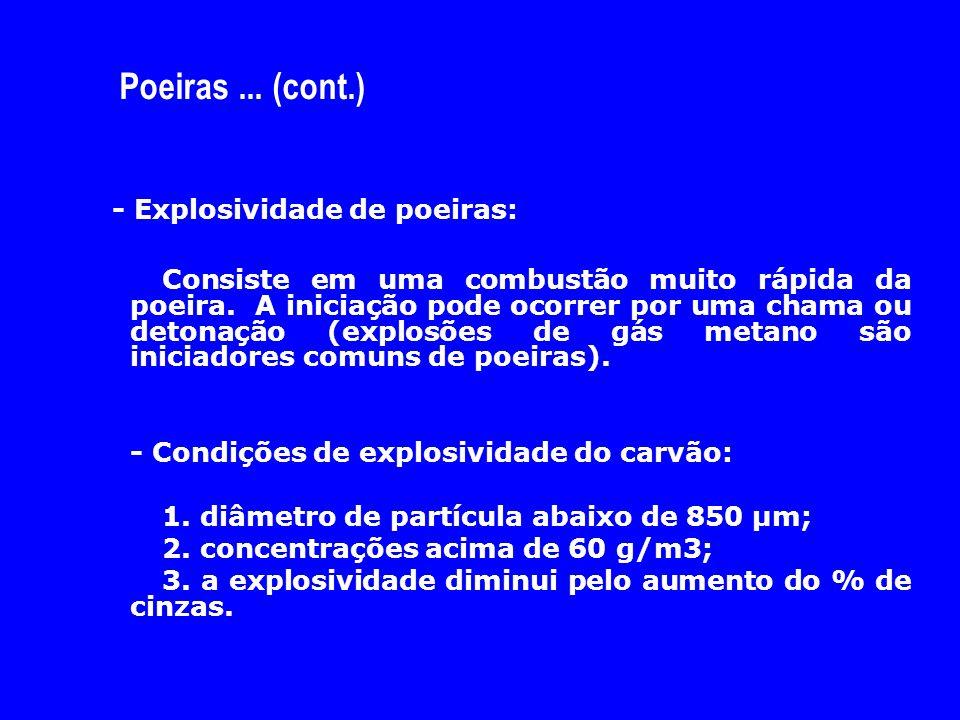 Poeiras... (cont.) - Explosividade de poeiras: Consiste em uma combustão muito rápida da poeira. A iniciação pode ocorrer por uma chama ou detonação (