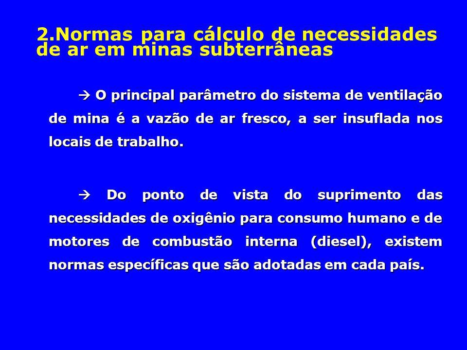 2.Normas para cálculo de necessidades de ar em minas subterrâneas  O principal parâmetro do sistema de ventilação de mina é a vazão de ar fresco, a s