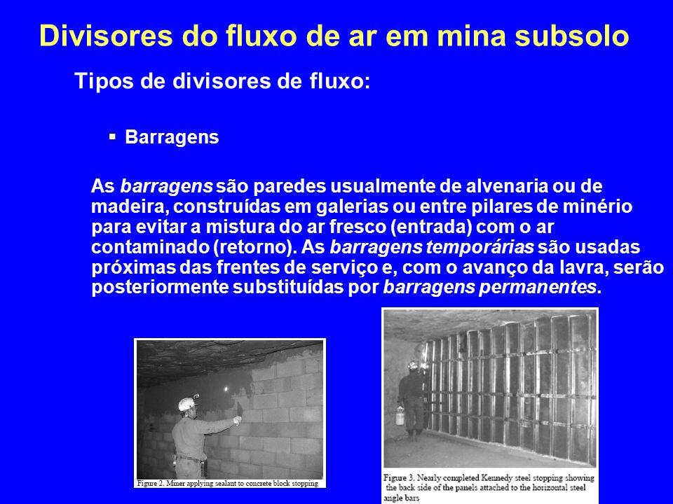 Divisores do fluxo de ar em mina subsolo Tipos de divisores de fluxo:  Barragens As barragens são paredes usualmente de alvenaria ou de madeira, cons