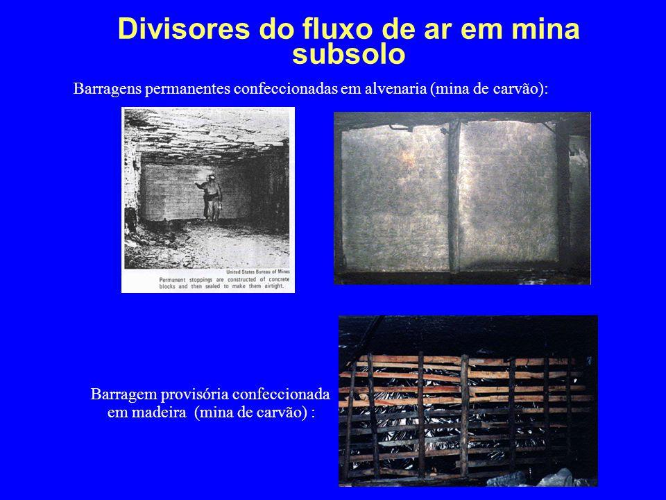 Divisores do fluxo de ar em mina subsolo Barragens permanentes confeccionadas em alvenaria (mina de carvão): Barragem provisória confeccionada em made