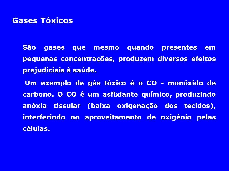 Gases Tóxicos São gases que mesmo quando presentes em pequenas concentrações, produzem diversos efeitos prejudiciais à saúde. Um exemplo de gás tóxico