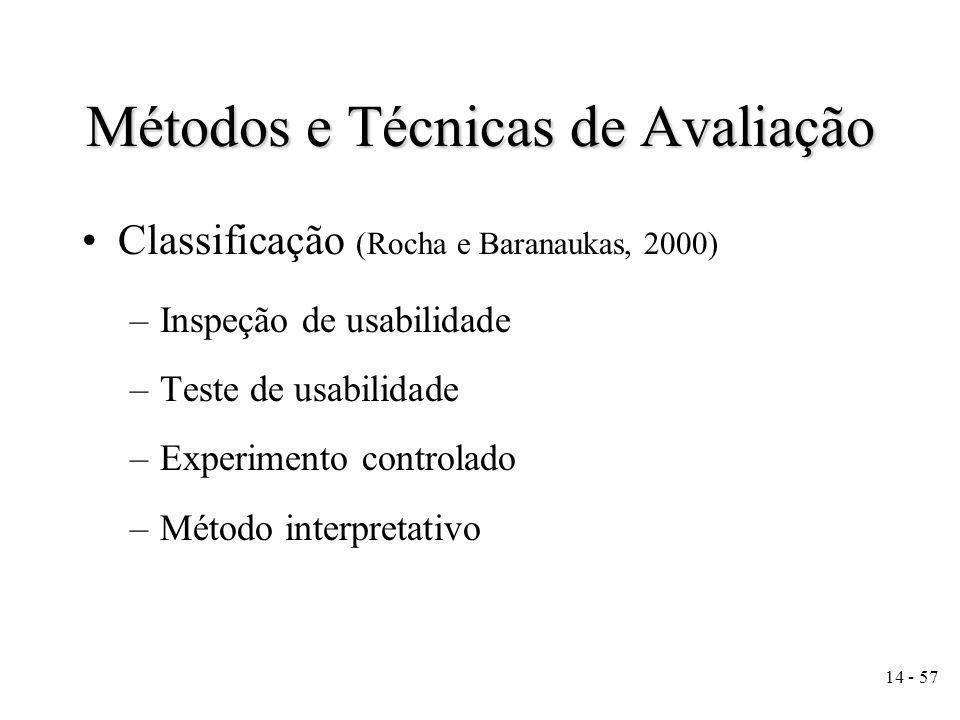 14 - 57 Métodos e Técnicas de Avaliação Classificação (Rocha e Baranaukas, 2000) –Inspeção de usabilidade –Teste de usabilidade –Experimento controlado –Método interpretativo