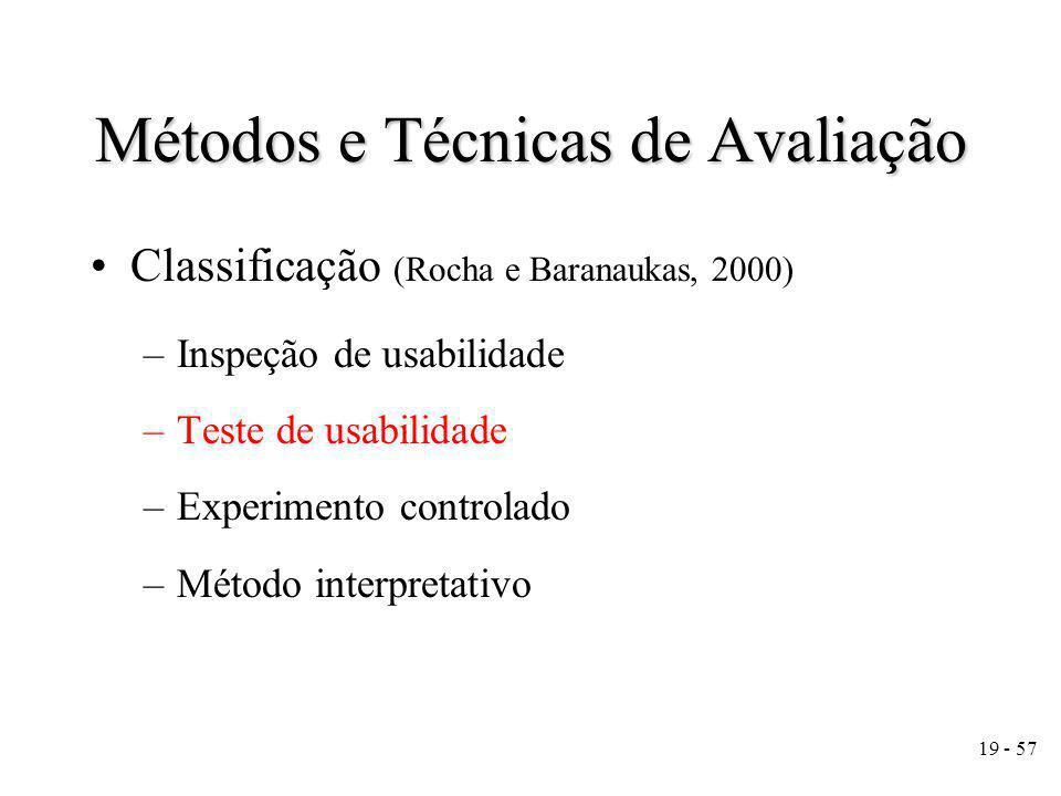 19 - 57 Métodos e Técnicas de Avaliação Classificação (Rocha e Baranaukas, 2000) –Inspeção de usabilidade –Teste de usabilidade –Experimento controlado –Método interpretativo