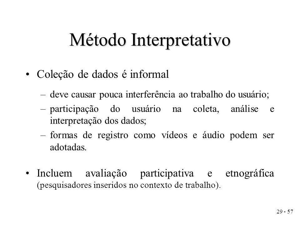 29 - 57 Coleção de dados é informal –deve causar pouca interferência ao trabalho do usuário; –participação do usuário na coleta, análise e interpretação dos dados; –formas de registro como vídeos e áudio podem ser adotadas.