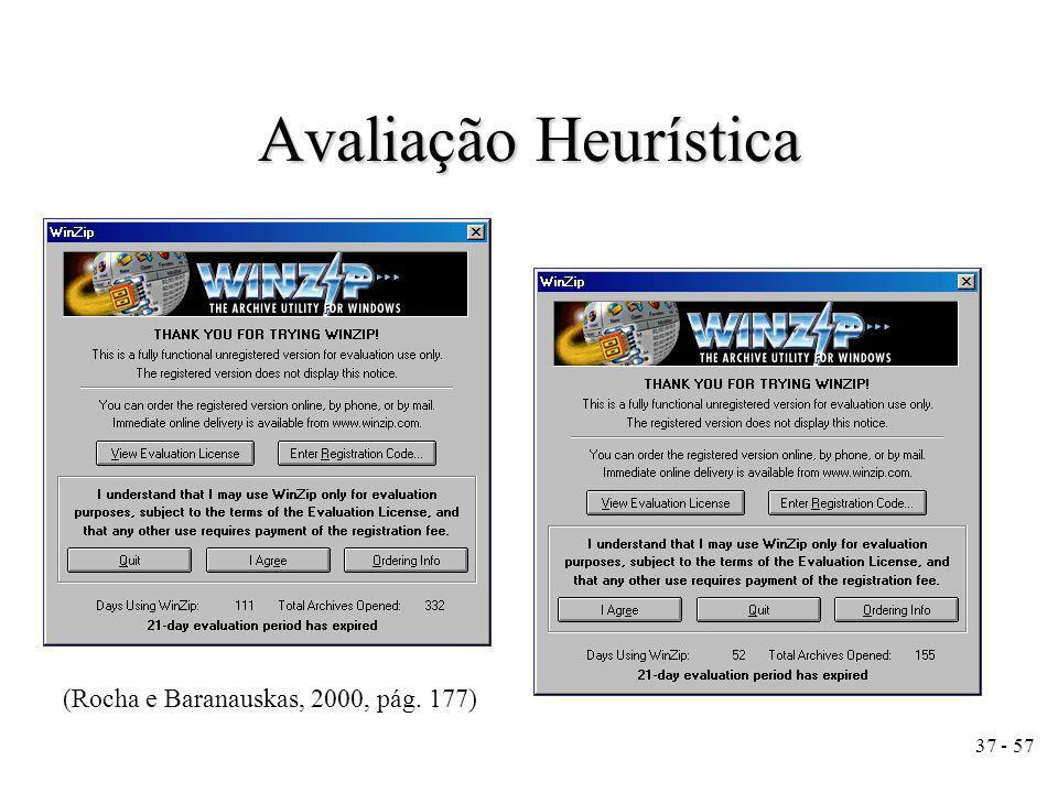 37 - 57 Avaliação Heurística (Rocha e Baranauskas, 2000, pág. 177)