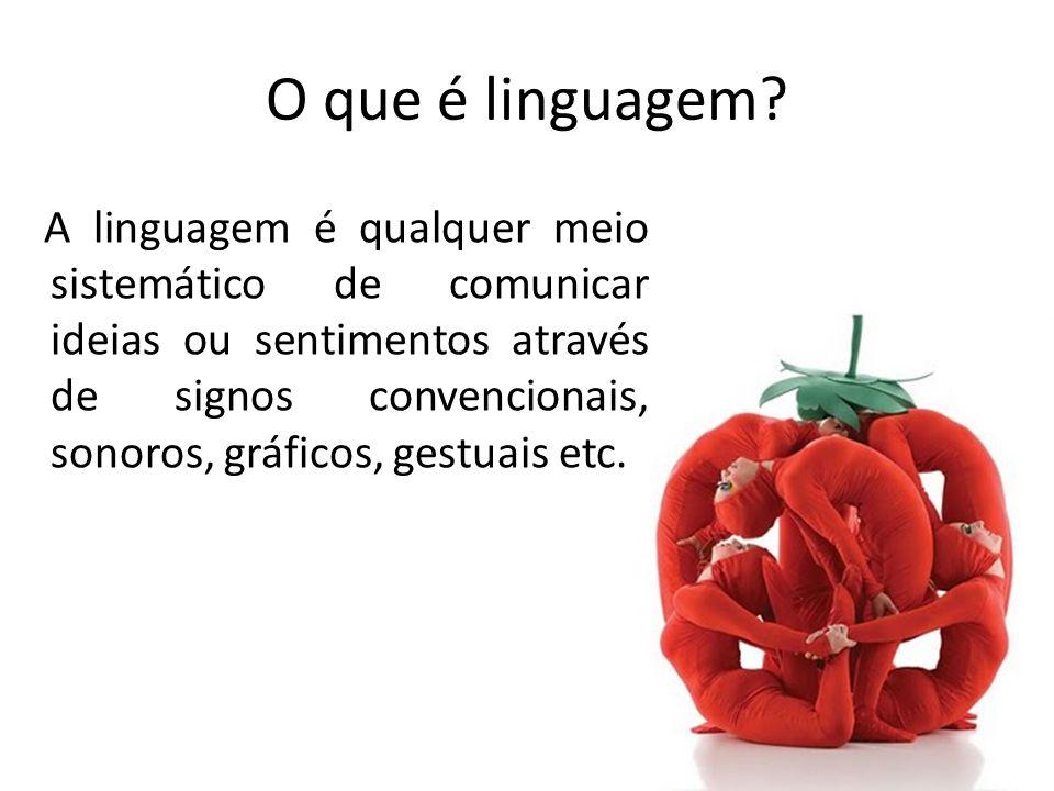 A linguagem é qualquer meio sistemático de comunicar ideias ou sentimentos através de signos convencionais, sonoros, gráficos, gestuais etc.