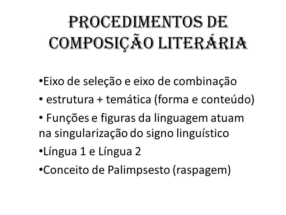 Procedimentos de composição Literária Eixo de seleção e eixo de combinação estrutura + temática (forma e conteúdo) Funções e figuras da linguagem atuam na singularização do signo linguístico Língua 1 e Língua 2 Conceito de Palimpsesto (raspagem)