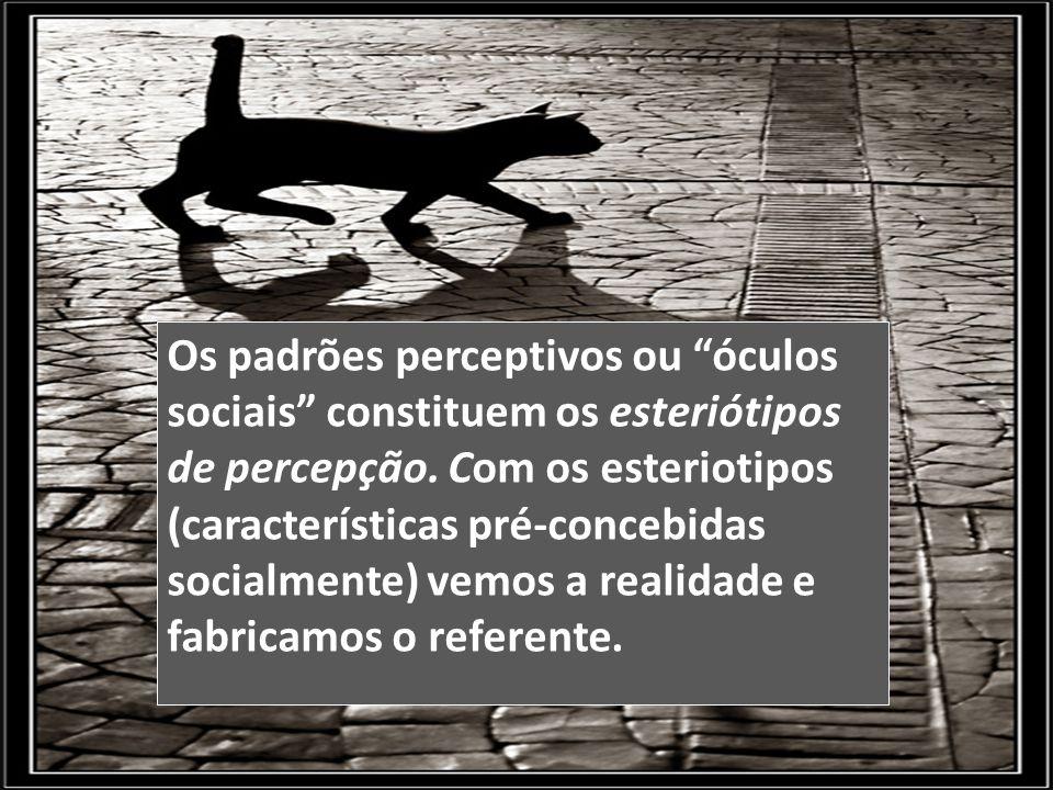 """Os padrões perceptivos ou """"óculos sociais"""" constituem os esteriótipos de percepção. Com os esteriotipos (características pré-concebidas socialmente) v"""