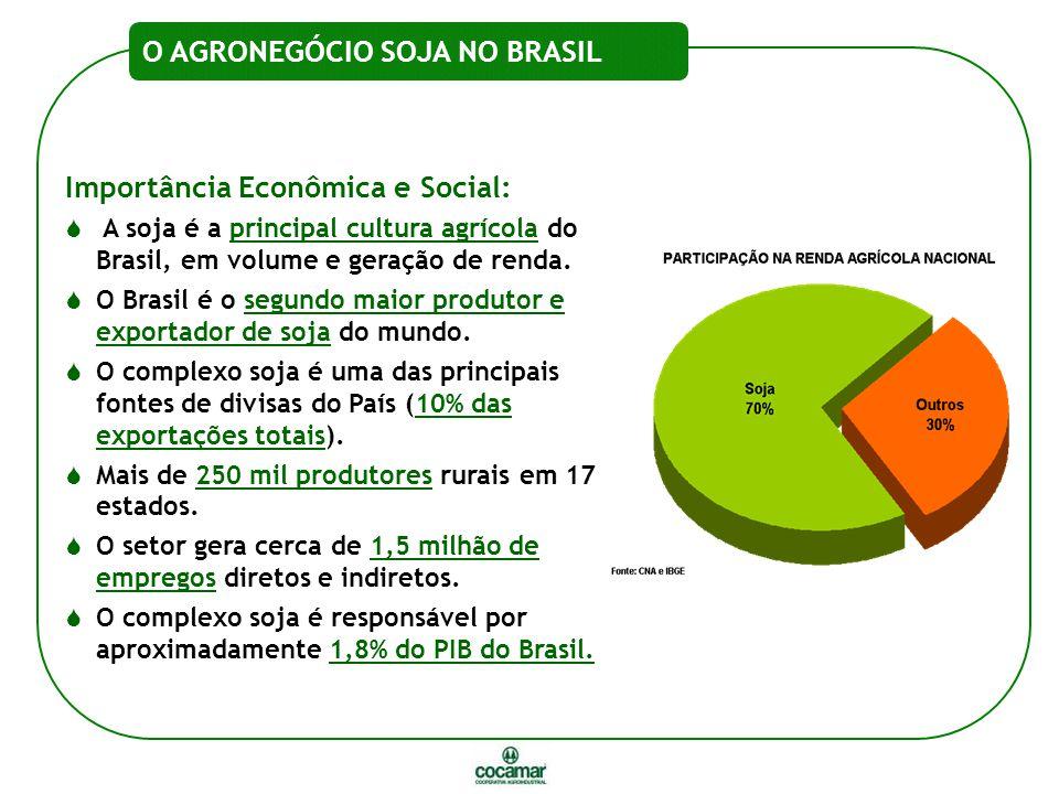 Importância Econômica e Social:  A soja é a principal cultura agrícola do Brasil, em volume e geração de renda.  O Brasil é o segundo maior produtor