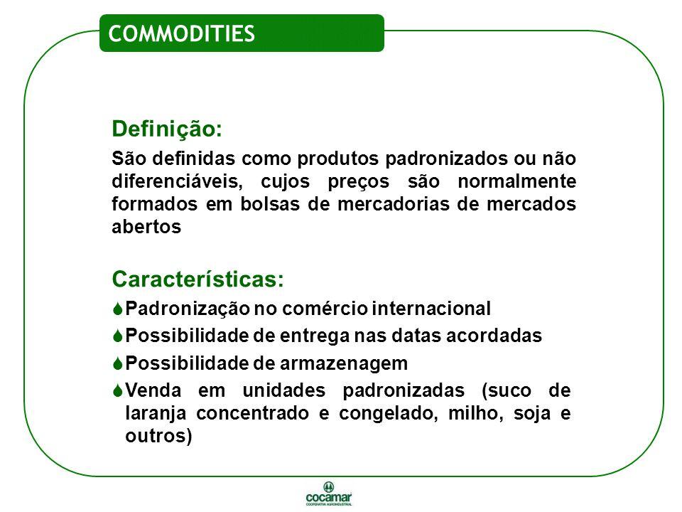Definição: São definidas como produtos padronizados ou não diferenciáveis, cujos preços são normalmente formados em bolsas de mercadorias de mercados