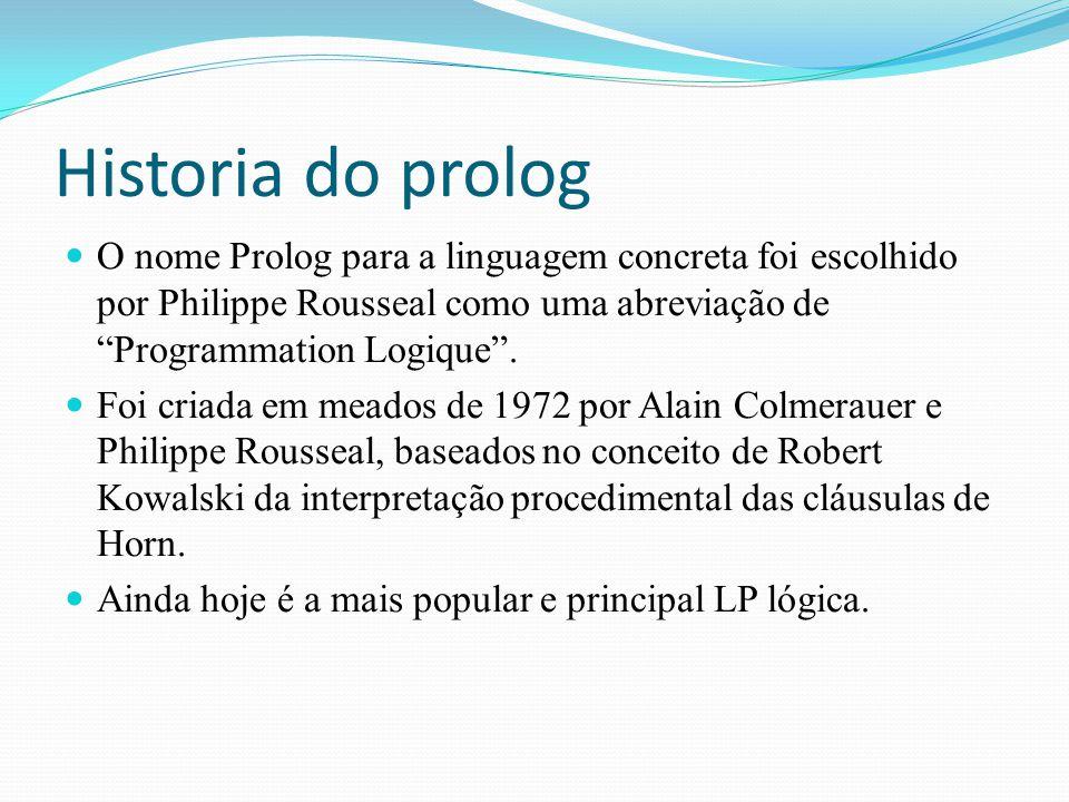 """Historia do prolog O nome Prolog para a linguagem concreta foi escolhido por Philippe Rousseal como uma abreviação de """"Programmation Logique"""". Foi cri"""