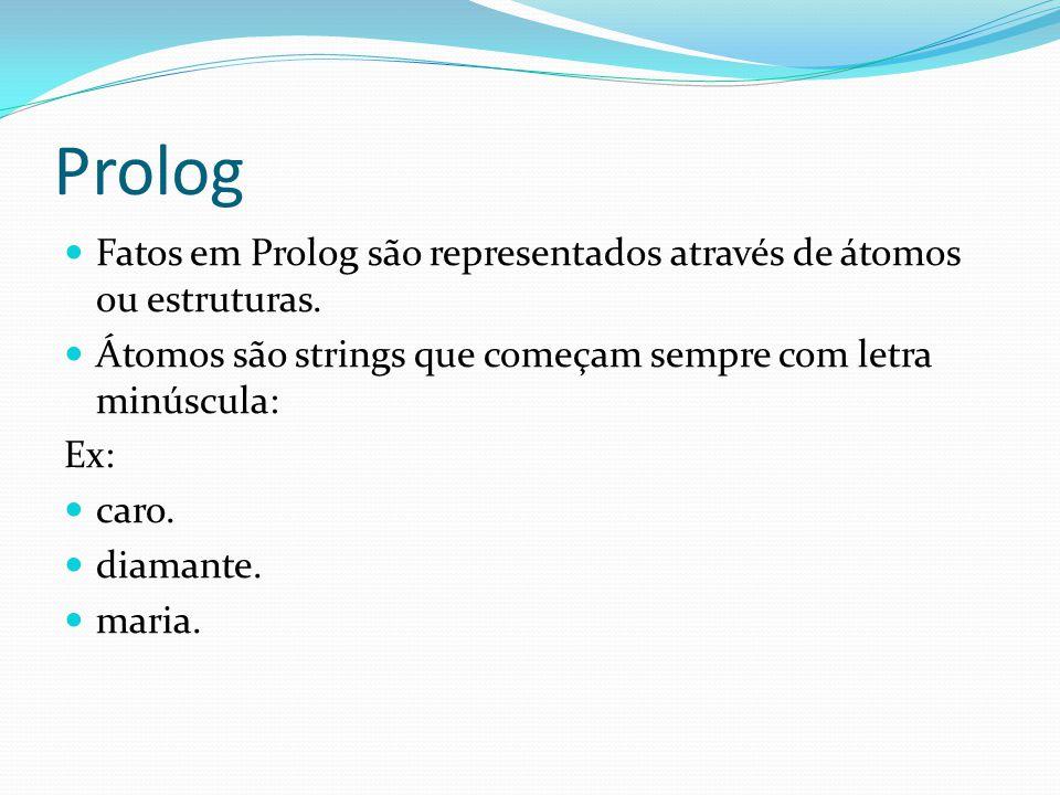 Prolog Fatos em Prolog são representados através de átomos ou estruturas. Átomos são strings que começam sempre com letra minúscula: Ex: caro. diamant