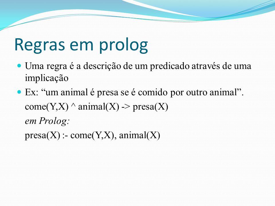 """Regras em prolog Uma regra é a descrição de um predicado através de uma implicação Ex: """"um animal é presa se é comido por outro animal"""". come(Y,X) ^ a"""