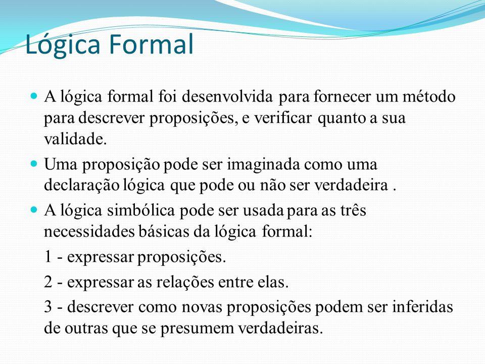 Lógica Formal A lógica formal foi desenvolvida para fornecer um método para descrever proposições, e verificar quanto a sua validade. Uma proposição p