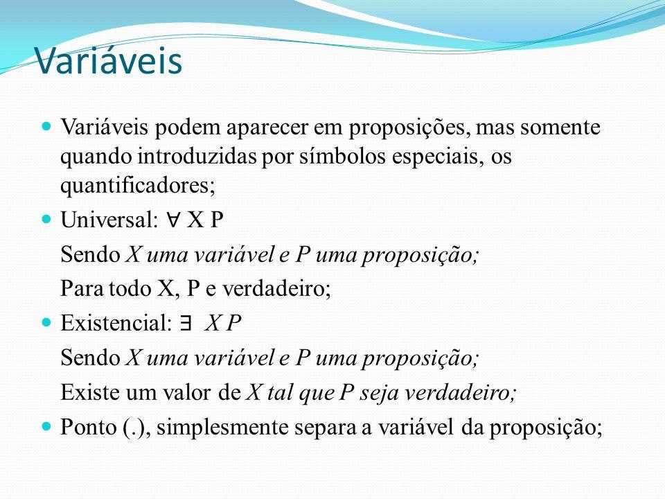 Variáveis Variáveis podem aparecer em proposições, mas somente quando introduzidas por símbolos especiais, os quantificadores; Universal: ∀ X P Sendo