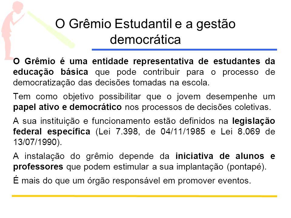 O Grêmio Estudantil e a gestão democrática O Grêmio é uma entidade representativa de estudantes da educação básica que pode contribuir para o processo