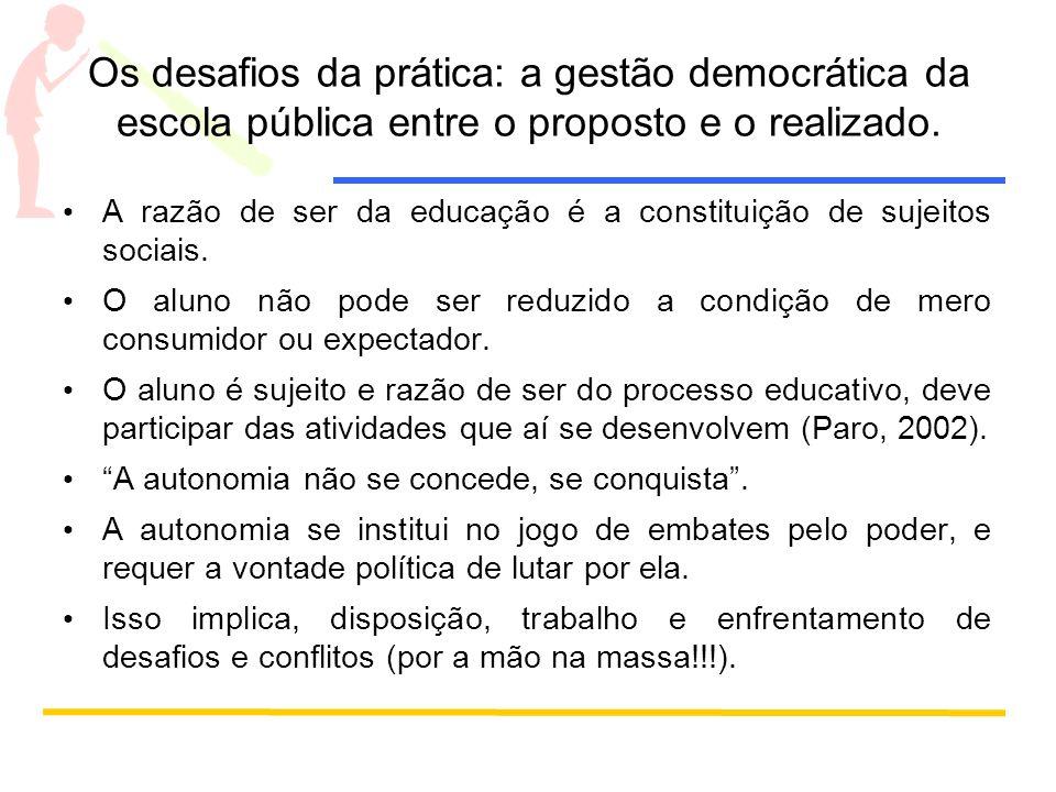 Os desafios da prática: a gestão democrática da escola pública entre o proposto e o realizado. A razão de ser da educação é a constituição de sujeitos