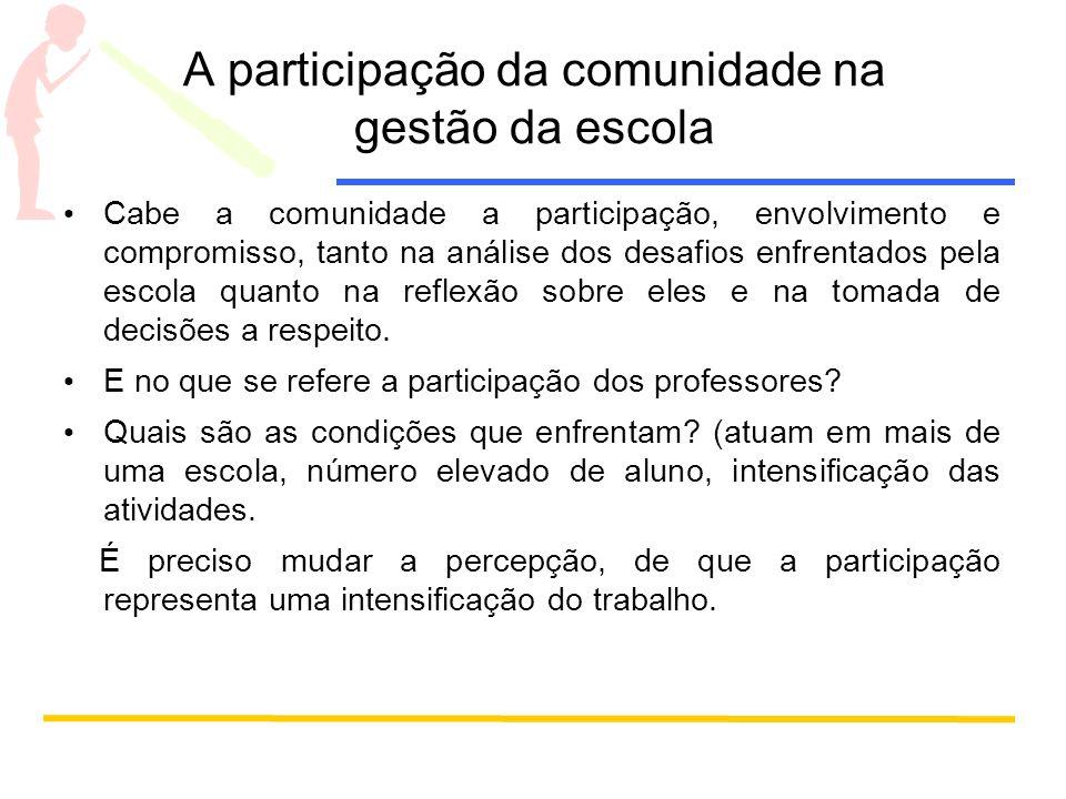 A participação da comunidade na gestão da escola Cabe a comunidade a participação, envolvimento e compromisso, tanto na análise dos desafios enfrentad