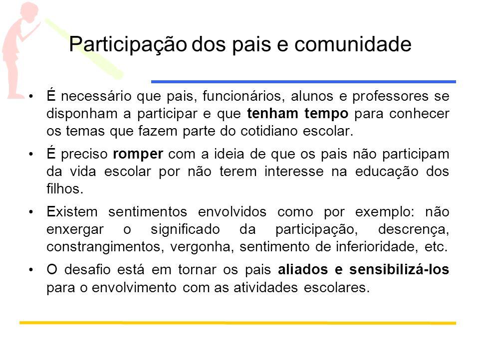 Participação dos pais e comunidade É necessário que pais, funcionários, alunos e professores se disponham a participar e que tenham tempo para conhece