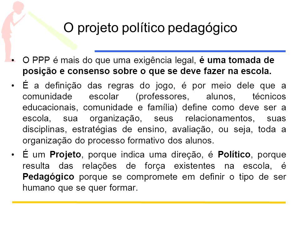 O projeto político pedagógico O PPP é mais do que uma exigência legal, é uma tomada de posição e consenso sobre o que se deve fazer na escola. É a def