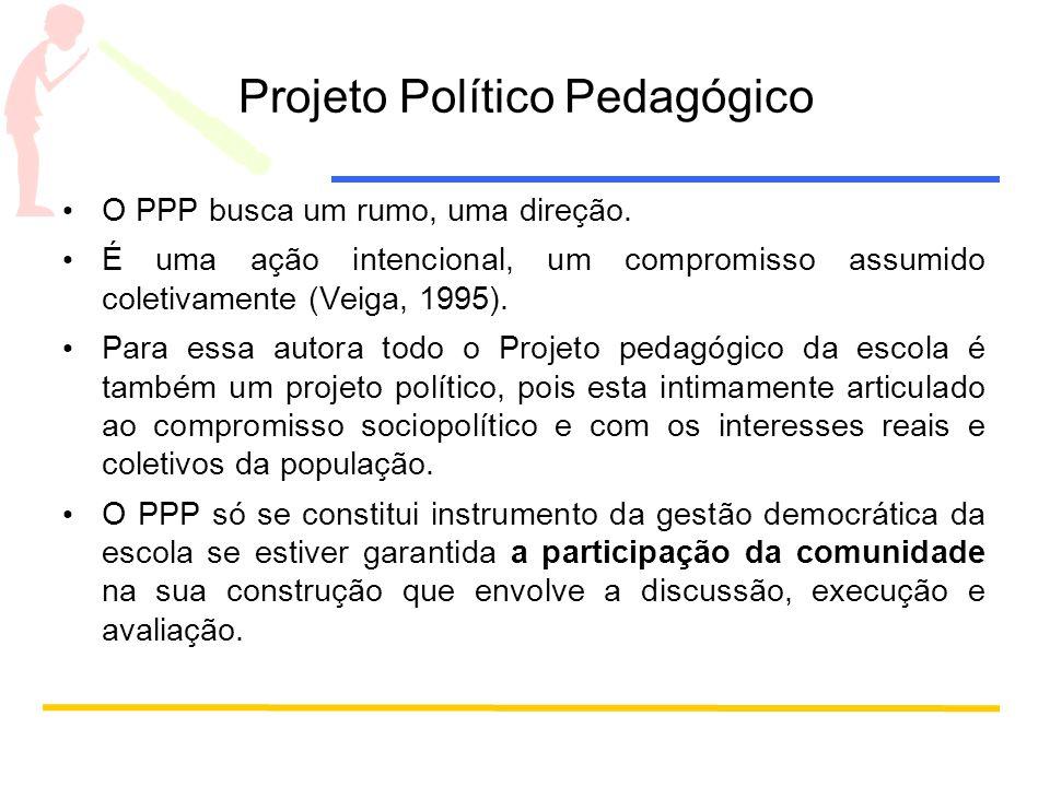 Projeto Político Pedagógico O PPP busca um rumo, uma direção. É uma ação intencional, um compromisso assumido coletivamente (Veiga, 1995). Para essa a