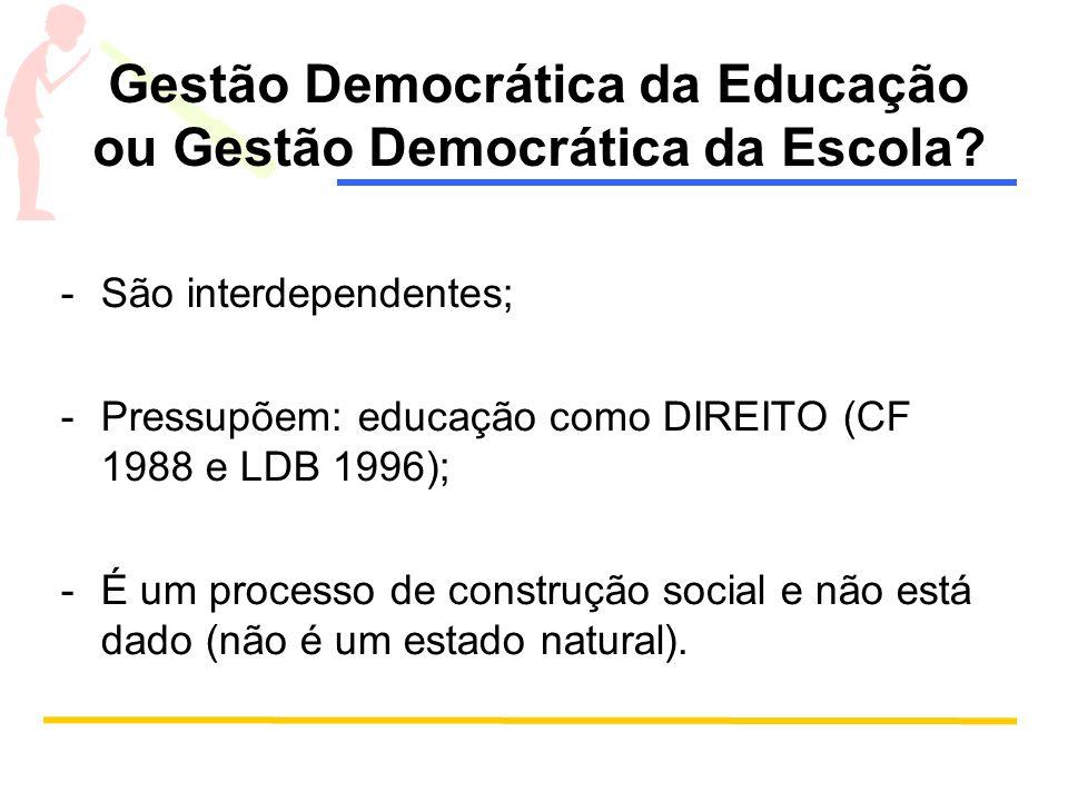 Gestão Democrática da Educação ou Gestão Democrática da Escola? -São interdependentes; -Pressupõem: educação como DIREITO (CF 1988 e LDB 1996); -É um