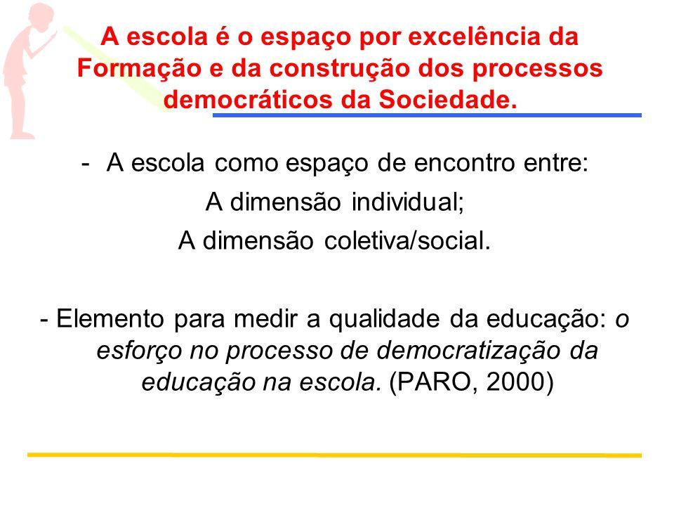 A escola é o espaço por excelência da Formação e da construção dos processos democráticos da Sociedade. -A escola como espaço de encontro entre: A dim
