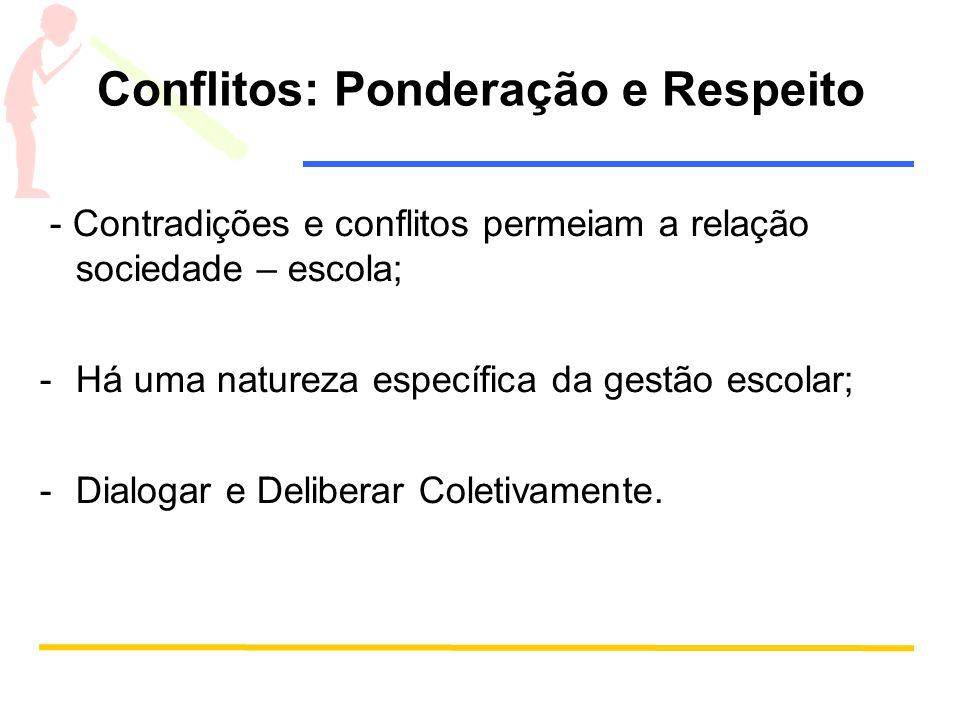 Conflitos: Ponderação e Respeito - Contradições e conflitos permeiam a relação sociedade – escola; -Há uma natureza específica da gestão escolar; -Dia