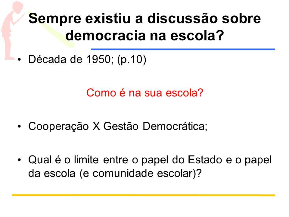 Sempre existiu a discussão sobre democracia na escola? Década de 1950; (p.10) Como é na sua escola? Cooperação X Gestão Democrática; Qual é o limite e