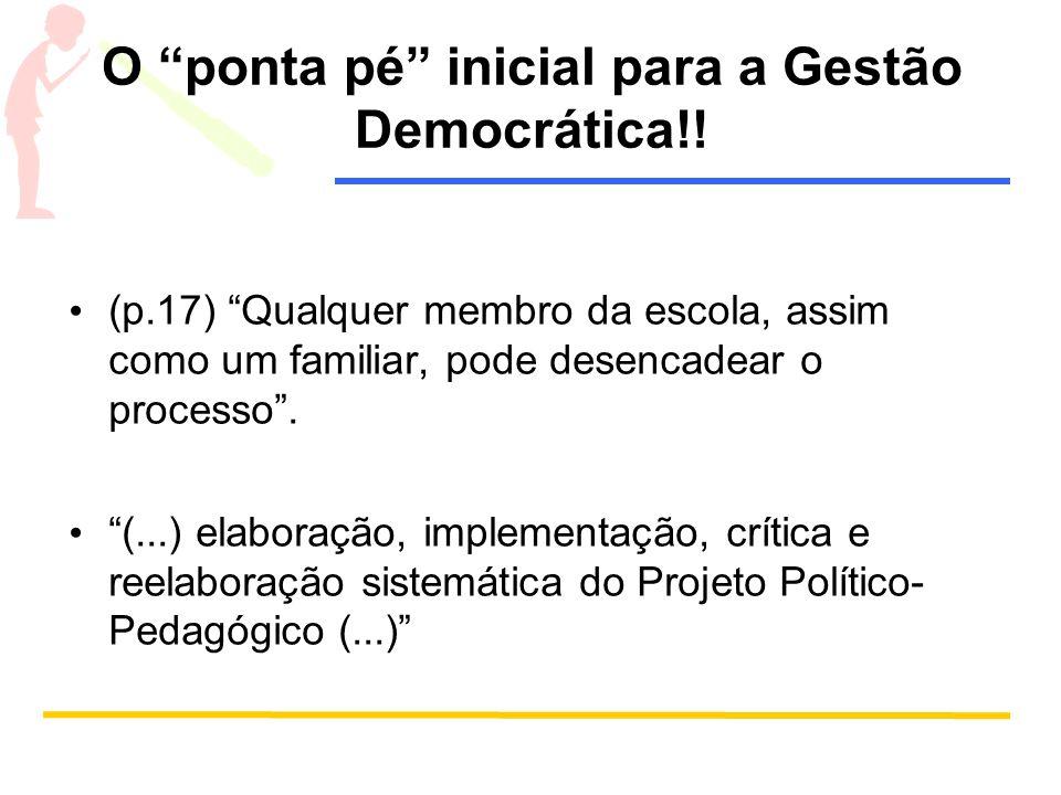 """O """"ponta pé"""" inicial para a Gestão Democrática!! (p.17) """"Qualquer membro da escola, assim como um familiar, pode desencadear o processo"""". """"(...) elabo"""
