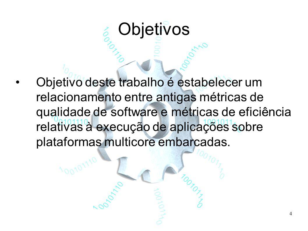 4 Objetivos Objetivo deste trabalho é estabelecer um relacionamento entre antigas métricas de qualidade de software e métricas de eficiência relativas à execução de aplicações sobre plataformas multicore embarcadas.