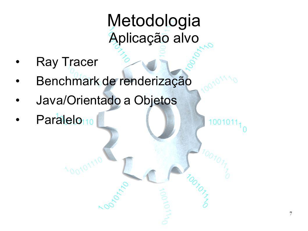 7 Metodologia Aplicação alvo Ray Tracer Benchmark de renderização Java/Orientado a Objetos Paralelo