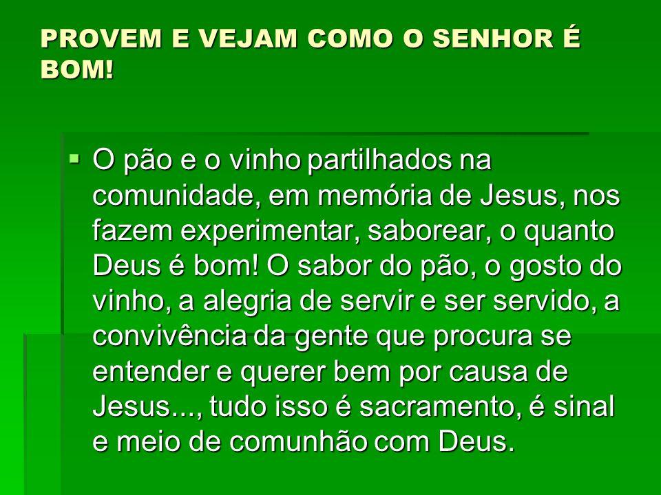 PROVEM E VEJAM COMO O SENHOR É BOM!  O pão e o vinho partilhados na comunidade, em memória de Jesus, nos fazem experimentar, saborear, o quanto Deus