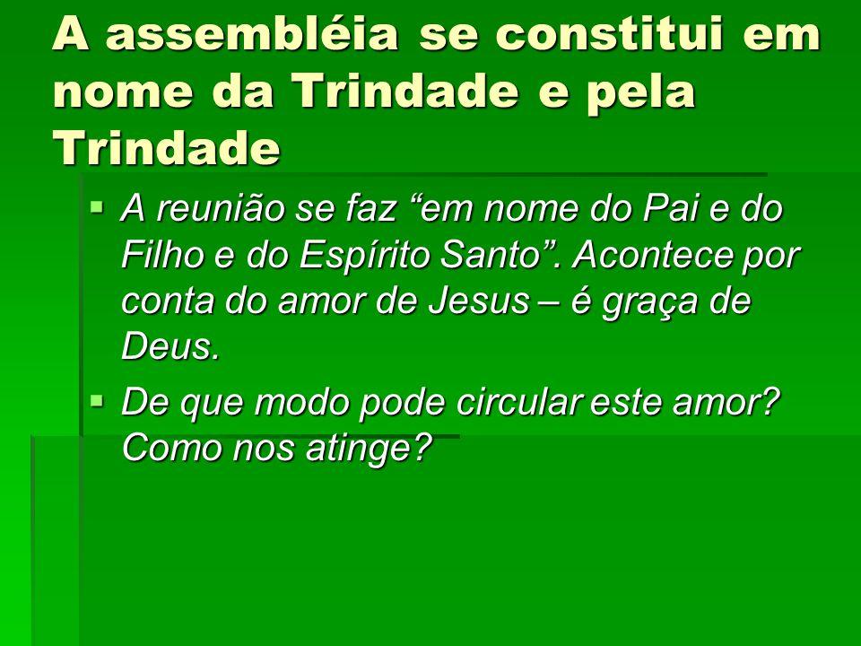 """A assembléia se constitui em nome da Trindade e pela Trindade AAAA reunião se faz """"em nome do Pai e do Filho e do Espírito Santo"""". Acontece por co"""