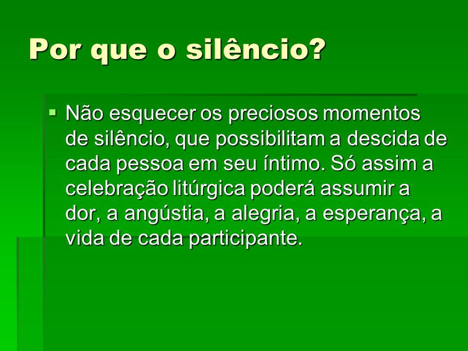 Por que o silêncio?  Não esquecer os preciosos momentos de silêncio, que possibilitam a descida de cada pessoa em seu íntimo. Só assim a celebração l