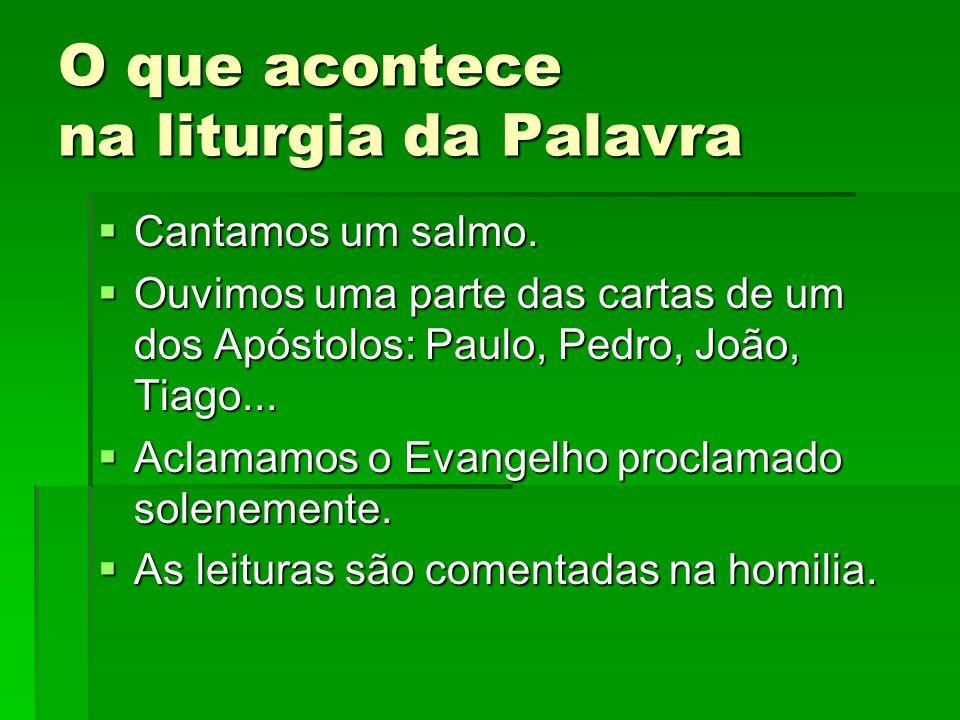 O que acontece na liturgia da Palavra  Cantamos um salmo.  Ouvimos uma parte das cartas de um dos Apóstolos: Paulo, Pedro, João, Tiago...  Aclamamo