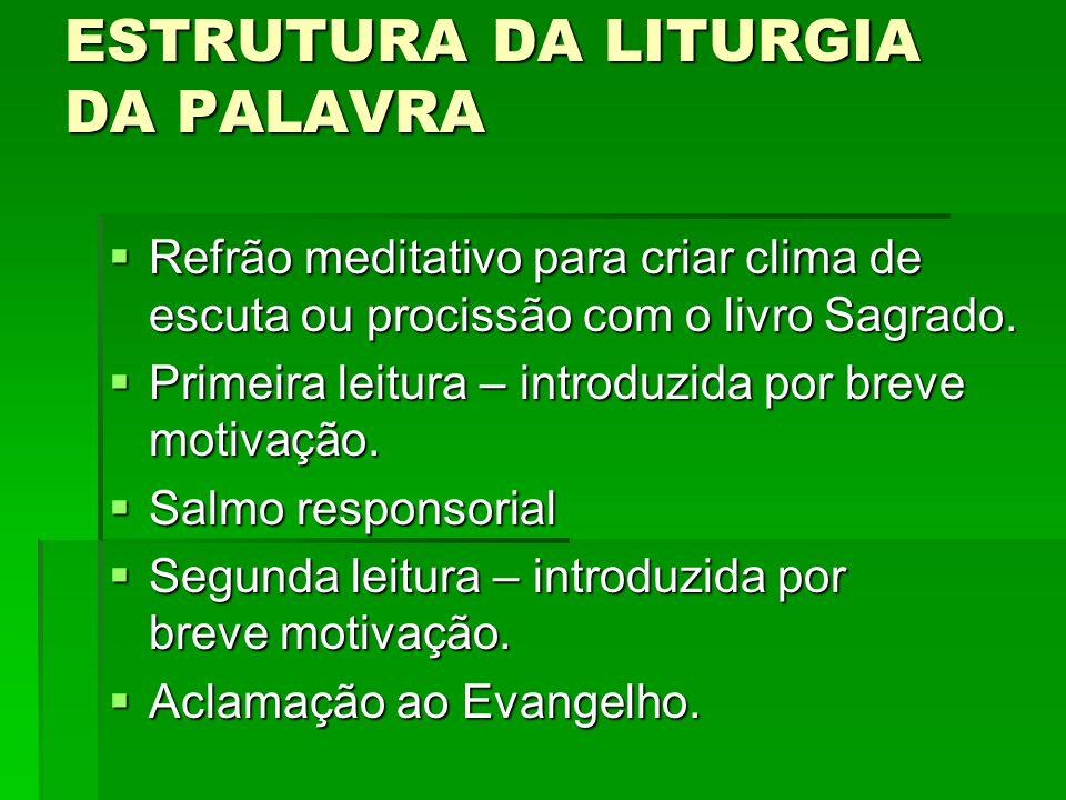 ESTRUTURA DA LITURGIA DA PALAVRA RRRRefrão meditativo para criar clima de escuta ou procissão com o livro Sagrado. PPPPrimeira leitura – intro