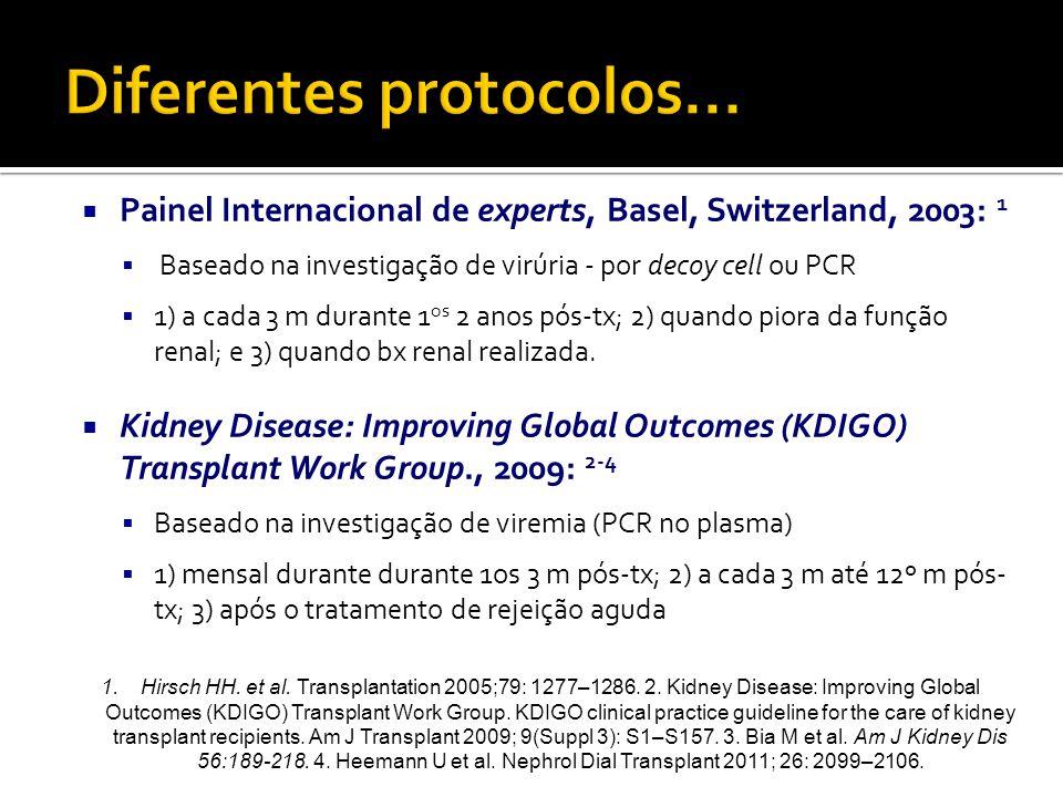  Painel Internacional de experts, Basel, Switzerland, 2003: 1  Baseado na investigação de virúria - por decoy cell ou PCR  1) a cada 3 m durante 1 os 2 anos pós-tx; 2) quando piora da função renal; e 3) quando bx renal realizada.