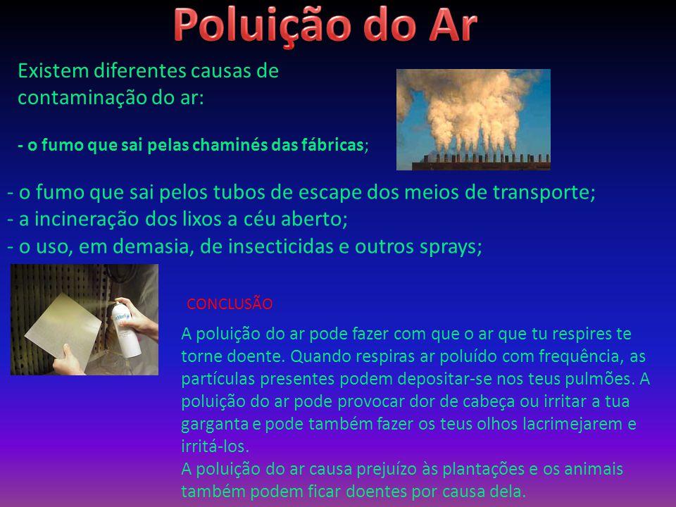Existem diferentes causas de contaminação do ar: - o fumo que sai pelas chaminés das fábricas; - o fumo que sai pelos tubos de escape dos meios de transporte; - a incineração dos lixos a céu aberto; - o uso, em demasia, de insecticidas e outros sprays; A poluição do ar pode fazer com que o ar que tu respires te torne doente.